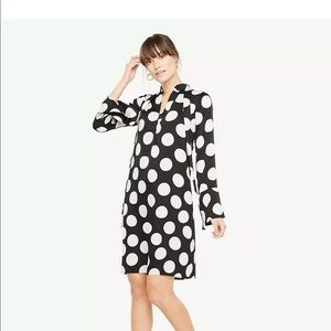 ANN TAYLOR BLACK WHITE POLKA DOT TIE NECK DRESS L